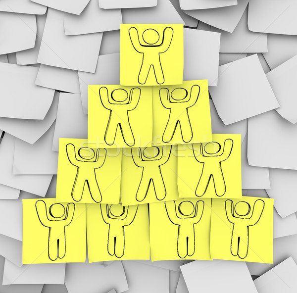 Cooperation Pyramid Drawn on Sticky Notes Stock photo © iqoncept