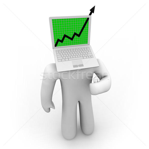 Wzrostu arrow laptop rysunku laptop ekranu Zdjęcia stock © iqoncept