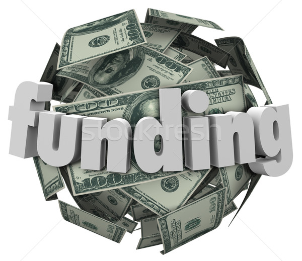 Funding Word Money 100 Dollar Bill Currency Ball Stock photo © iqoncept