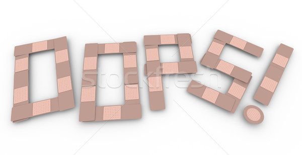 Oops Word Accident Injury Medical Treatment Bandage Word Stock photo © iqoncept