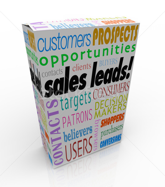Stock photo: Sales Leads Box Package New Customers Prospects Competitive Adva