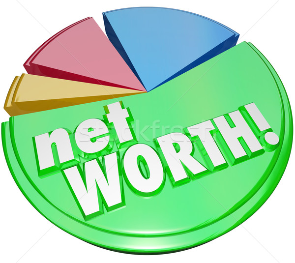 Net Worth Pie Chart Wealth Value Compare Assets Debts Graph Stock photo © iqoncept