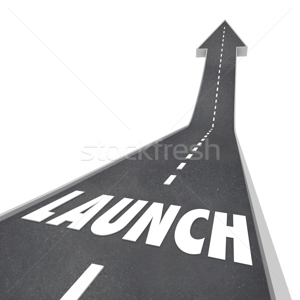 Launch Word Road Street Up Direction New Business Product Compan Stock photo © iqoncept