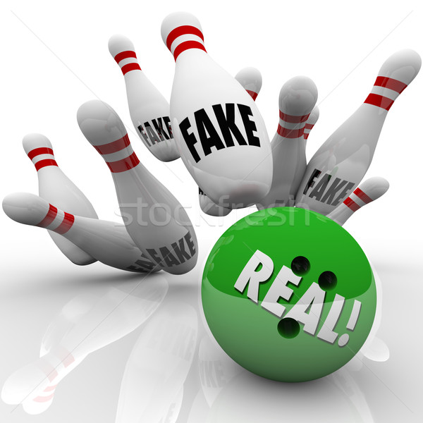 Stock photo: Real Bowling Ball Fake Pins Strike Original vs Counterfeit