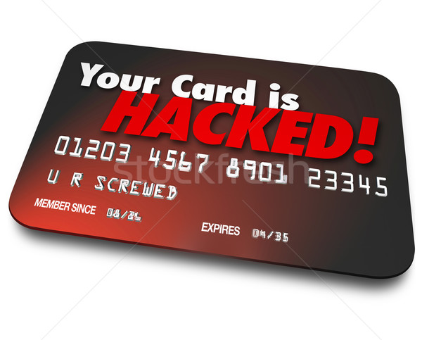 Tarjeta de crédito robado dinero robo de identidad tarjeta palabras Foto stock © iqoncept