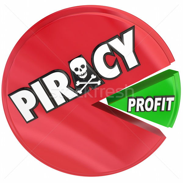 Piracy Pie Chart Eating Profits Illegal Copyright Theft Violatio Stock photo © iqoncept