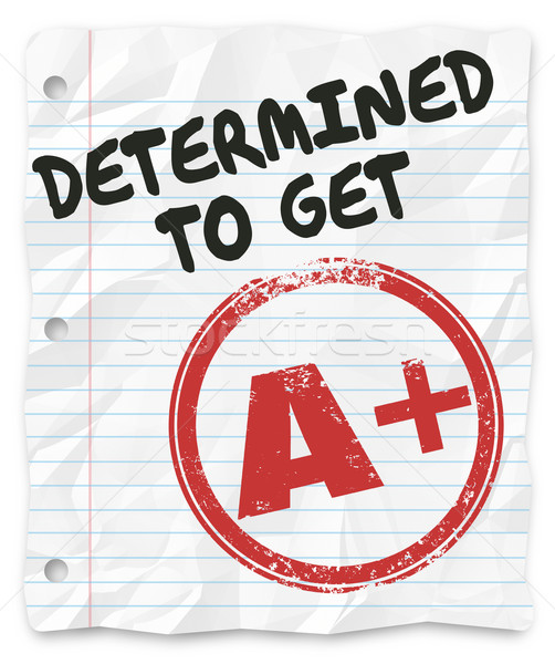 Determined to Get A Plus Grade Score Homework Assignment Stock photo © iqoncept