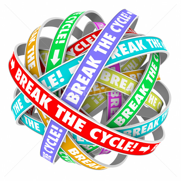 Stock photo: Break the Cycle Words Around Rings Endless Repeating Pattern
