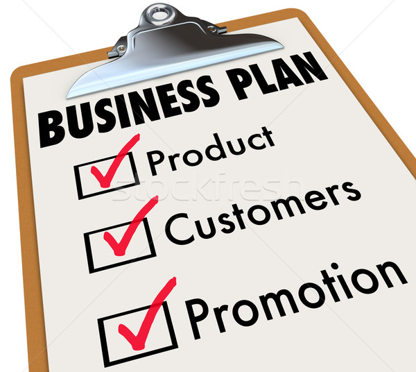 Business Plan Checklist Clipboard Product Customers Promotion Ch Stock photo © iqoncept