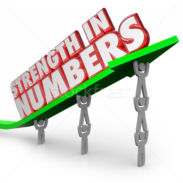 Strength in Numbers 3d Words Arrow Team Working Together Goal Stock photo © iqoncept