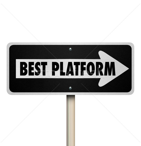 Best Platform One Way Road Street Sign Choose Right System Proce Stock photo © iqoncept