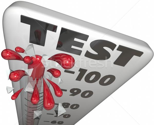 Test bilgi yarışması değerlendirme değerlendirme termometre puan Stok fotoğraf © iqoncept
