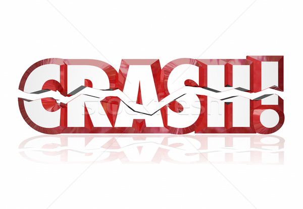 Crash 3D rouge mots fissuré lettres Photo stock © iqoncept