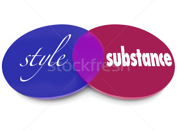 Style Over Substance Venn 2 Words Circles Flash Vs Function Stock photo © iqoncept