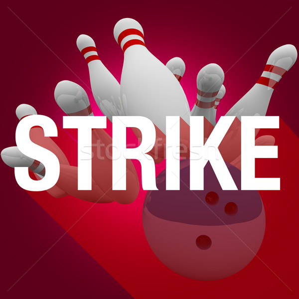 Strike Bowling Ball Pins Word Long Shadow Win Game Stock photo © iqoncept