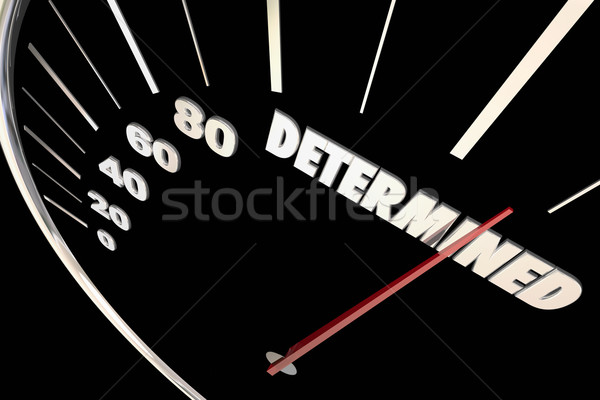 Determination Commitment Achieve Success Speedometer Words 3d Il Stock photo © iqoncept