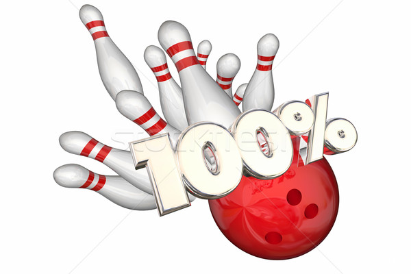 100 Percent Total Best Score Perfect Bowling Strike 3d Illustrat Stock photo © iqoncept