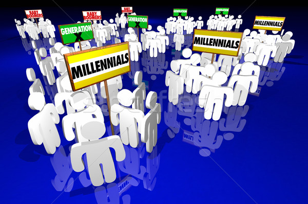 Millennials Generation X Baby Boomers People Signs 3d Illustrati Stock photo © iqoncept