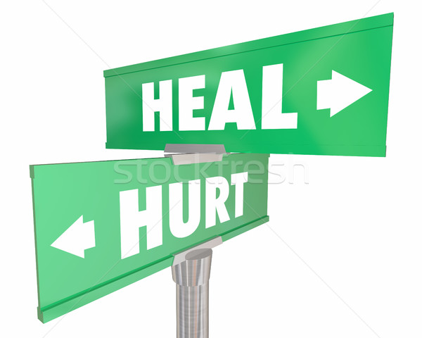 Hurt Vs Heal Injury Recovery Two Road Street Signs 3d Illustrati Stock photo © iqoncept