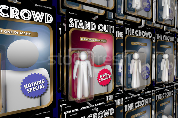 Stand Out from Crowd Action Figure People Advantage 3d Illustrat Stock photo © iqoncept