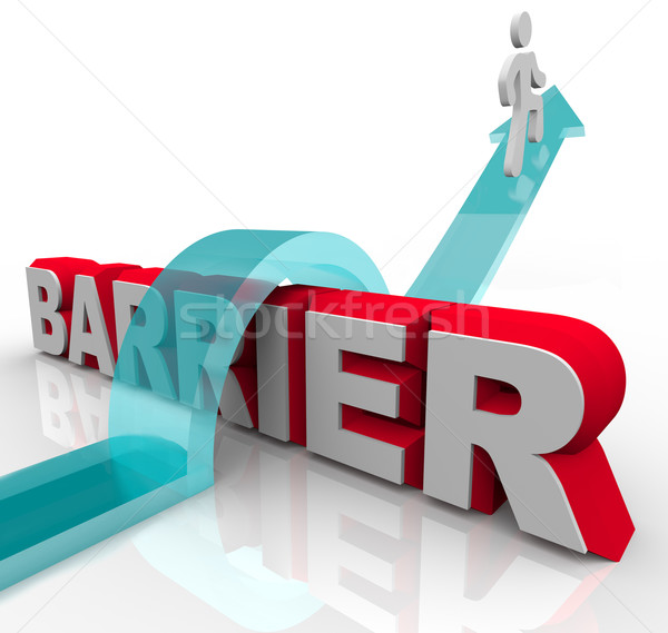 Jumping Over Barriers - Man Rides Arrow Over Word Stock photo © iqoncept