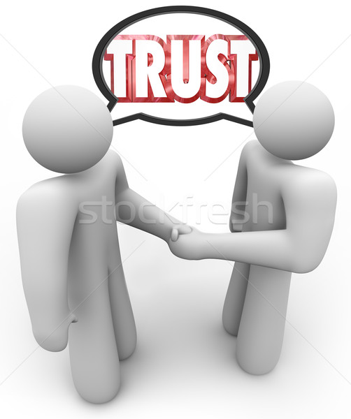 Trust Word Two People Handshake Speech Bubble Stock photo © iqoncept