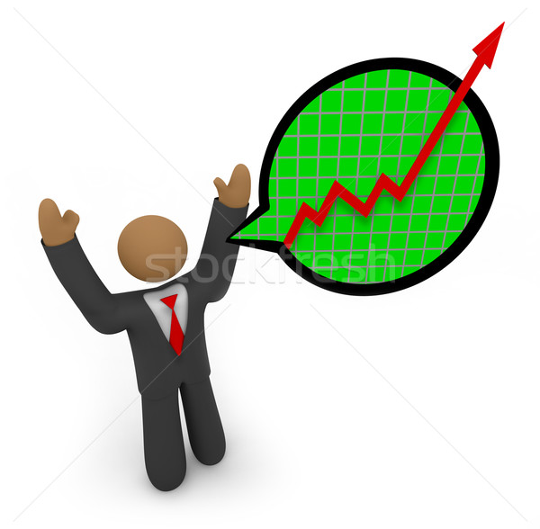 Predicting Major Growth - Businessman Speech Bubble Stock photo © iqoncept