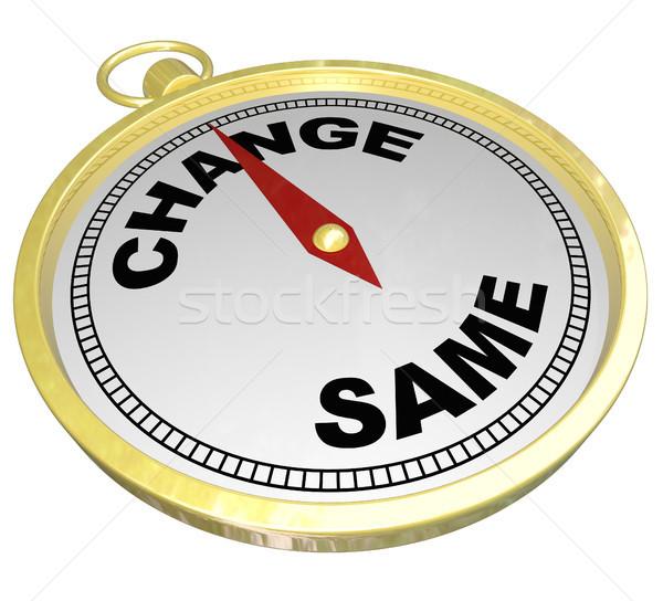 Change Vs Same Gold Compass Changing Innovation Stock photo © iqoncept
