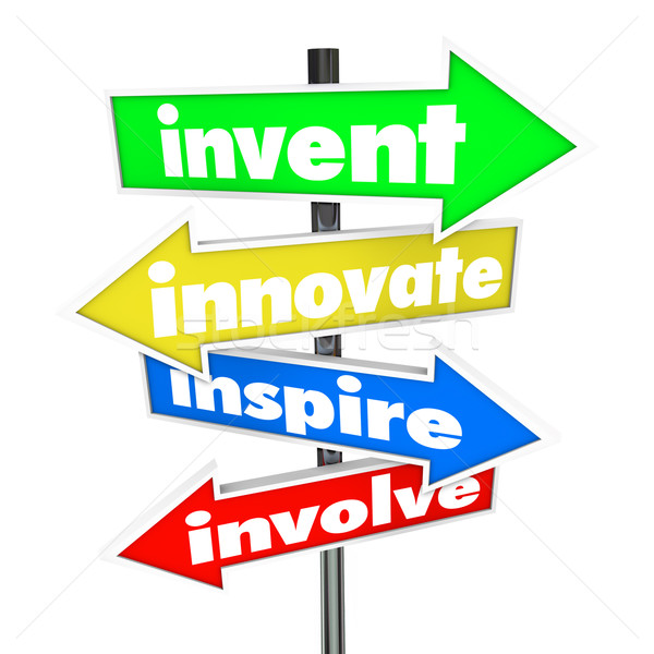 Invent Innovate Inspire Involve Road Arrow Signs Stock photo © iqoncept