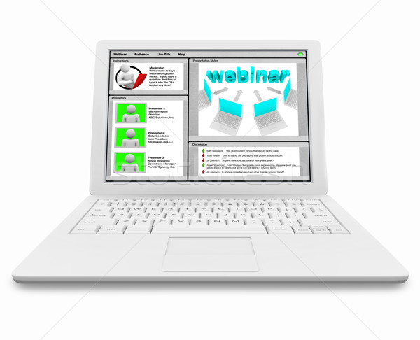 Stock photo: Webinar Screen on White Laptop Computer