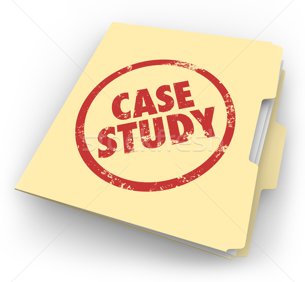 Case Study Words Stamped Manila Folder File Example Document Stock photo © iqoncept