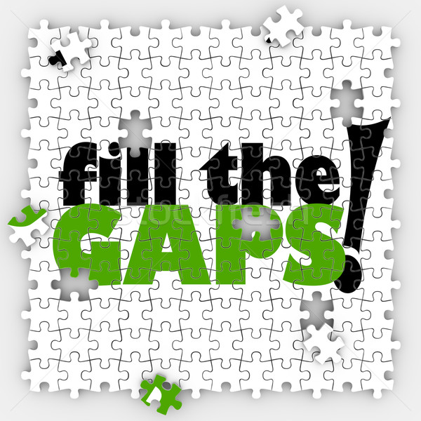 Fill the Gaps Puzzle Hole Shortfall Coverage Insufficient Lackin Stock photo © iqoncept