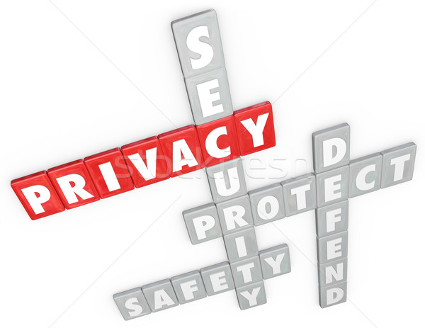 Privacy Security Protection Safety Defense 3D Word Letter Tiles Stock photo © iqoncept