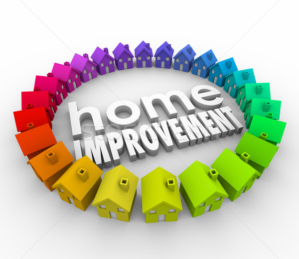 Home Improvement 3d Houses Words Building Project Renovation Stock photo © iqoncept