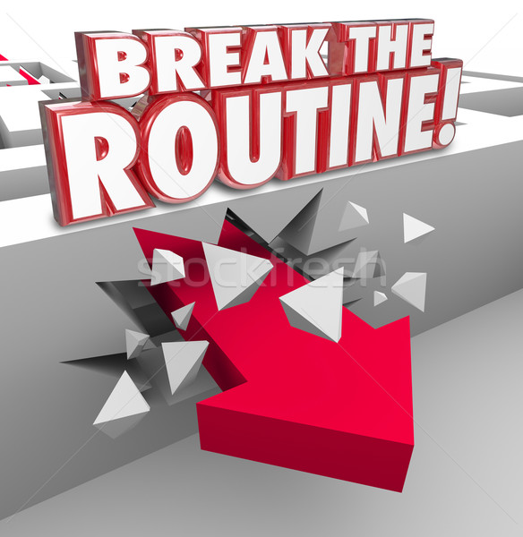 Break the Routine Arrow Through Maze Spontaneous Action Avoid Bo Stock photo © iqoncept