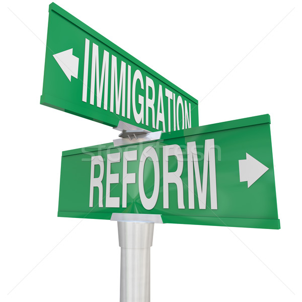 Immigration Reform Road Signs Changing Legal Residency Status Al Stock photo © iqoncept
