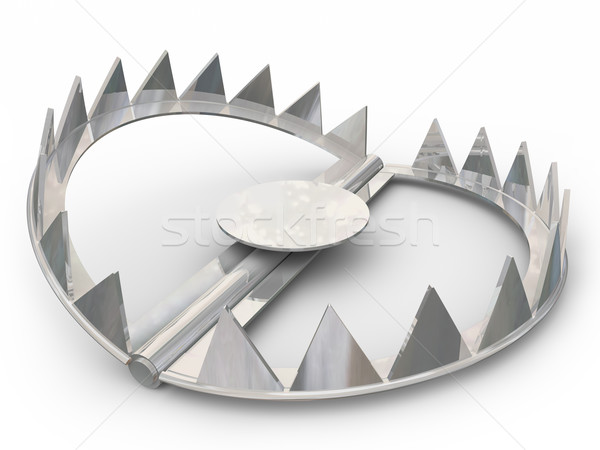 Steel Bear Trap Catch Animals Victims Pointy Teeth Stock photo © iqoncept