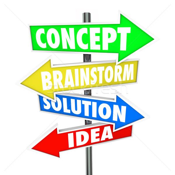 Concept Brainstorm Solution Idea Words Arrows Creativity Stock photo © iqoncept