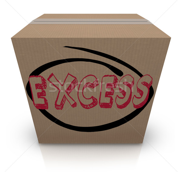 Excess Word Cardboard Box Overstock Too Much Supply Inventory Stock photo © iqoncept