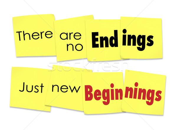 Geen nieuwe begin gezegde sticky notes woorden Stockfoto © iqoncept