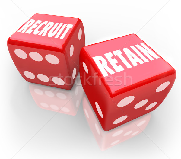 Recruit and Retain 2 Red Dice Attract Job Candidate Hire Reward  Stock photo © iqoncept