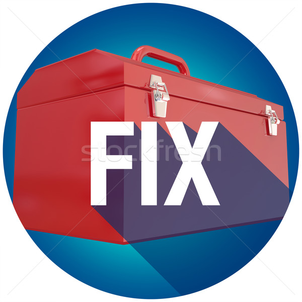 Fix Toolbox Repair Long Shadow Word Circle Seal Stock photo © iqoncept