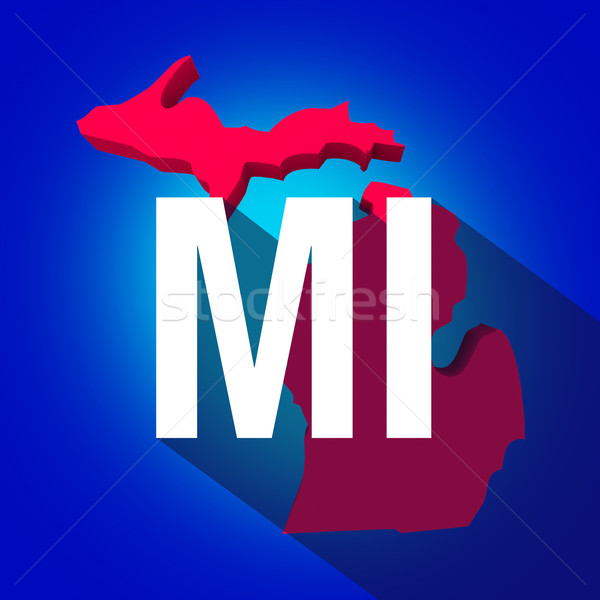 Michigan MI Letters Abbreviation Red 3d State Map Long Shadow Ci Stock photo © iqoncept