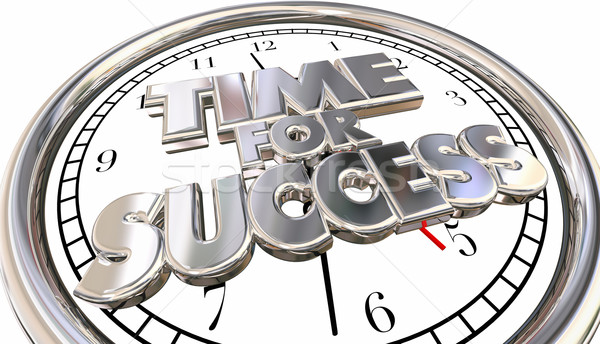 Time for Success Clock Words Winning Career Job Competition 3d Stock photo © iqoncept
