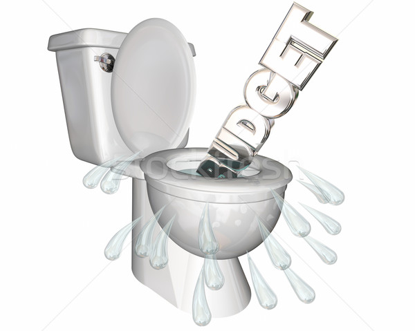Budget Overspending Waste Money Flush Toilet 3d Illustration Stock photo © iqoncept