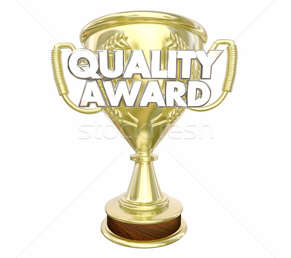 Quality Award Best Top Recommended Trophy Words 3d Illustration Stock photo © iqoncept