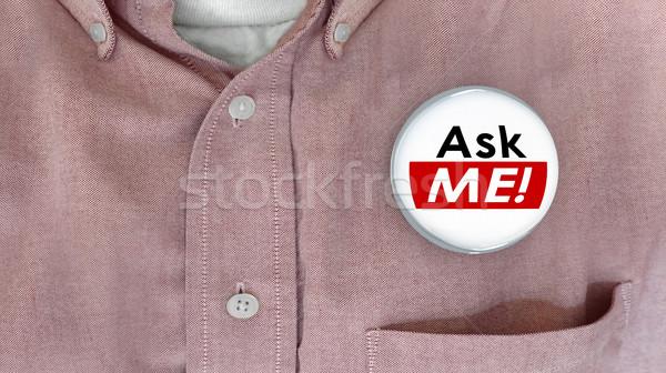 Zapytać mnie pytanie obsługa klienta odpowiedzi przycisk Zdjęcia stock © iqoncept
