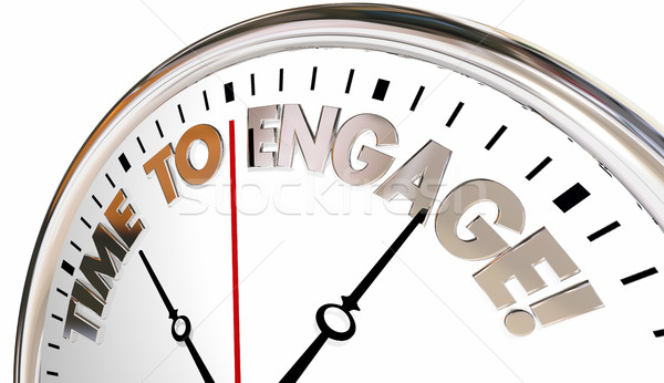 Time to Engage Interact Join Communicate Clock 3d Illustration Stock photo © iqoncept