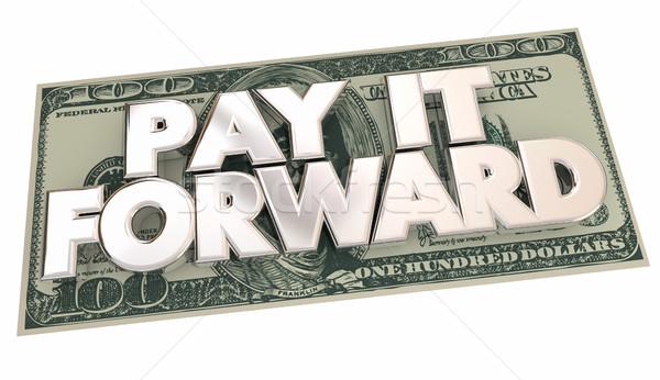 Salaris vooruit cash geld woorden vrijgevigheid Stockfoto © iqoncept