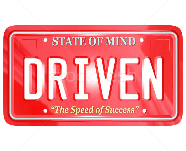 Driven Word on Red License Plate - Driving to Success Stock photo © iqoncept